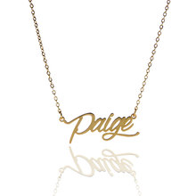 "AOLOSHOW Women Necklace Name "" Paige "" Minimalist Gold color Stainless Steel Name Necklace Pendant Nameplate Necklace ,NL-2410"