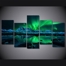 Unframed 5 Panels aurora borealis Painting on canvas Home decoration wall art paintings fashion oil paintings