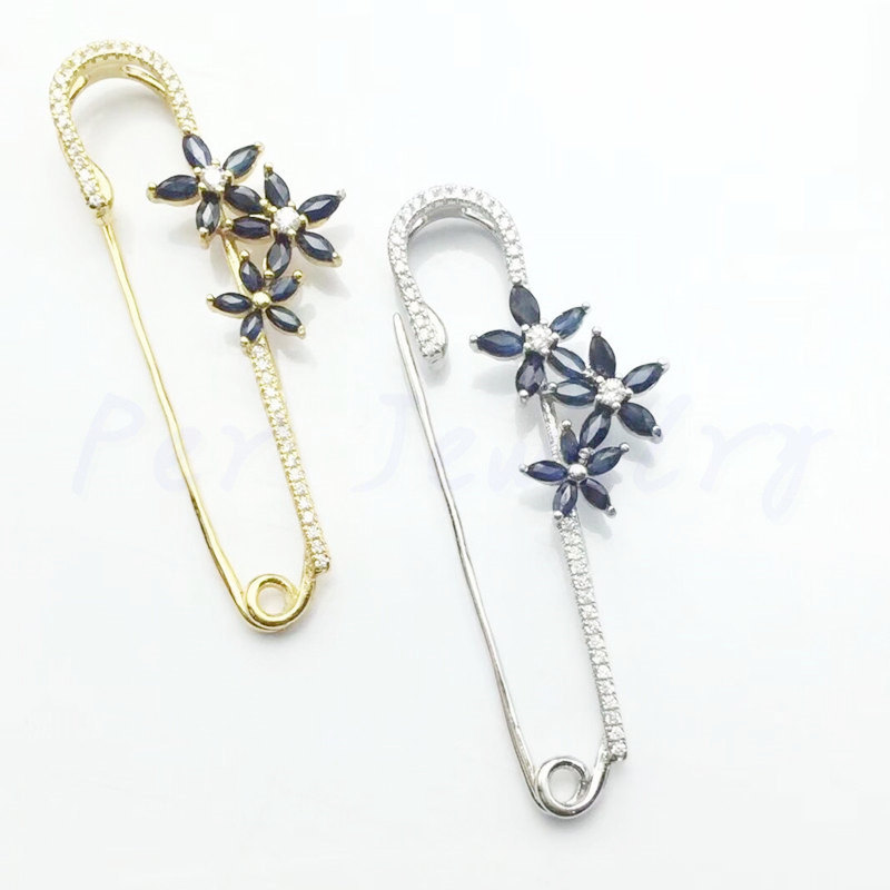 Natural sapphire brooch Free shipping Natural real sapphire 925 sterling silver Flower brooch 0.13ct*5pcs,0.24ct*10pcs gems