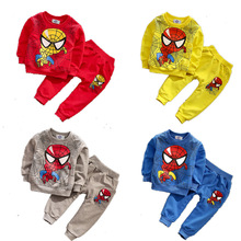 2016 Spring Autumn Baby Boys Cartoon Spider-Man T-shirt + Pants Two Piece Suit Infant Toddler Clothes Set Children's Outfits Set