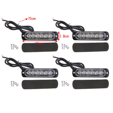 DC 12V 6 Led Strobe Warning Light Grille Flashing Lightbar Ultra-thin Truck Car Lamp super bright with surface mount Universal