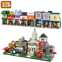 Loz Mini Street Retail Store Shop Architecture 3D Model Building Blocks Apple Store McDonald Cafe KFCE 7-11  City Assembly Brick