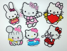 Fashion hello kitty MIX6pcs Embroidered cartoon iron on patches Sewing On patch Badge Applique garment embroidery DIY accessory
