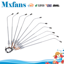 Mxfans  10pcs Silver 1:50 Scale 3V 15mA Wired Single Head LED Street Lamps Model