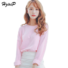 HziriP 2018 New Solid Candy Color Cropped Sweatshirt Women Spring Fall Bottoming Shirt Long Sleeve Loose Casual Hoodies 6 Colors(China)