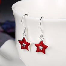 HERMOSA Jewelry new Christmas gift Cute star shape silver enamel process 2 color selection Earrings LKNSPCE834(China)