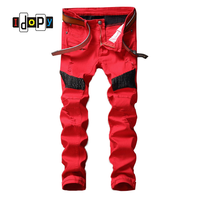 Fashion Mens Brand Designer Biker Jeans Leather Patch Men Draped Ripped Jeans Slim Fit Motorcycle Denim Pants For MenОдежда и ак�е��уары<br><br><br>Aliexpress