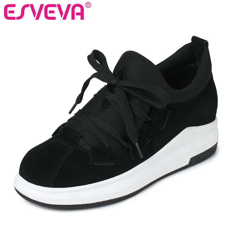 ESVEVA 2017 Wedges Med Heel Women Pumps cow suede+Lycra Lace Up Fashion Shoes for Spring Autumn Women Casual Shoes Size 34-39<br>