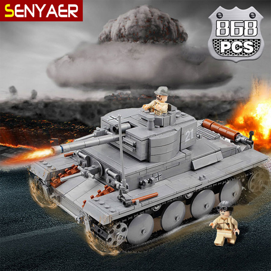 82009 868Pcs Military Series WW2 Germany PZKPFW-II Tank Model Building Blocks Sets Armored Vehicle Toys For Kids Gift<br>