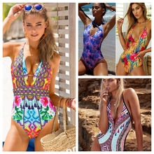 Buy 2018 One Piece Swimsuit Female Swimwear Women Printed Bathing Suit Bodysuit Swim Wear Beachwear Monokini Sexy Biquini Bather