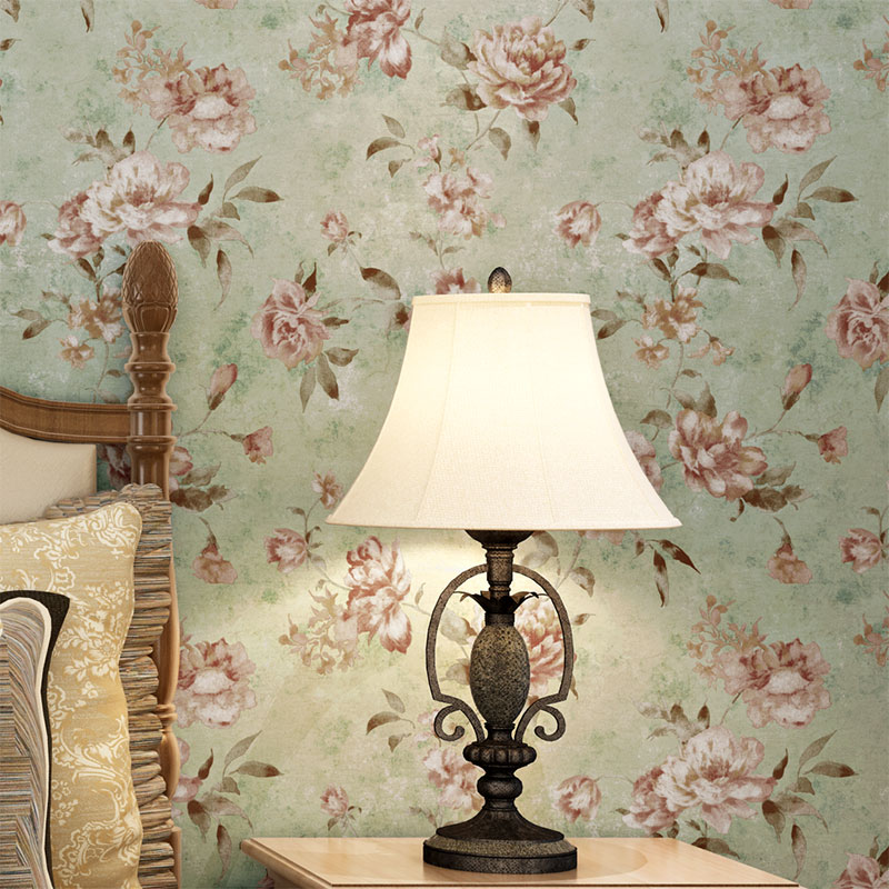 Retro American Village Wallpapers Pastoral Flowers Nonwovens Wall paper Warmer Bedroom Wall roll Full House Pastoral Wallpapers<br>