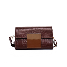 Brand PU Leather Bags Women Crocodile Pattern Shoulder Bag Evening Clutch Wallet Purse Metal side buckle Messenger Bag XPU1155(China)