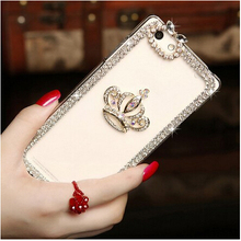 Rhinestone bling crystal clear back cover luxury DIY guitar Crown High heel pattern Diamond 3D phone case for iphone 6 6s 4.7""