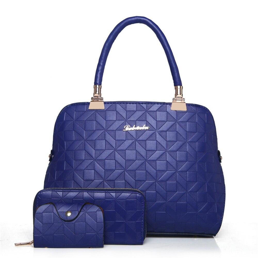 New 2017 Fashion High Quality Handbag Ladies PU Leather Embossing Shoulder Bag Women Solid 3pcs (shoulderbag+wallet+card holder)<br>