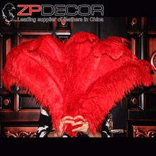ZPDECOR 100 pcs70-75cm(28-30inch) Long Premium Quality Wholesale Bulk Supply Red Ostrich Drab Feathers Craft Carnival Costume(China)