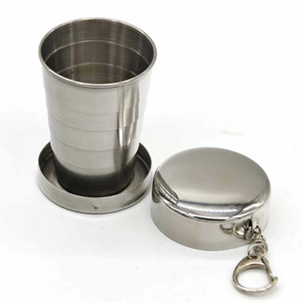New Style All Stainless Steel Folding Retractable Cup Folding Cup Blackjack Cup Silver& 60*47.5mm