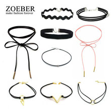 ZOEBER 9 PCS/Set New Gothic Leather Choker Necklaces for Women Hollow Out Black Lace Necklace Jewelry Collier Chain