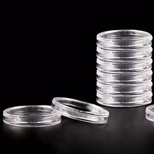 10Pcs 40mm Clear Round Boxed Lightweight Coin Holder Plastic Capsules Coin Box Display Cases(China)