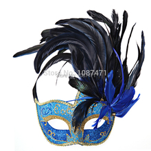 Blue venetian masks fashion women face party wedding masquerade sexy feather masks ball italian halloween mascara veneziana(China)