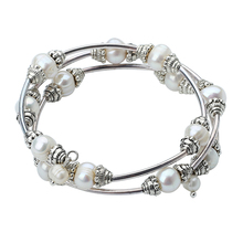 High Quality White Freshwater Pearl Bracelets Natural Pearl Silver Cuff Bangles Bracelet For Women(China)
