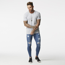 Blue ripped Jeans for Men Super Stretch Male Pant Distressed Fake Designer Brand men Jeans skinny fit Style Streetwear zm02(China)