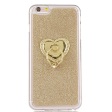 Heart-shaped pattern Silicone TPU Case Iphone 7 360 Rotate Ring Holder Stand Luxury Shiny Back Cover iphone7 - Caseloong Mobile Phone Accessories Store store