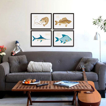 Bianche Wall Fish and Shrimps Marine Fish Cartoon A4 Canvas Painting Art Print Poster Picture Wall Paintings Bedroom Decoration