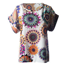 Women New Fashion Totem Sunflower Print Casual Short Sleeve Chiffon Top Colorful Comfortable Blouses chemise femme