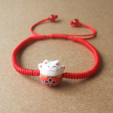 Cute Lucky Cat Ceramic Beads Shamballa Bracelet Red Rope Bangle Handmade Fashion Jewelry(China)