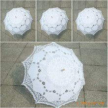 Classic Multi-color Noble Elegant Palace Style Long Arm Wedding Bridal Umbrella/Embroidery Gingham Lace Parasol lace Umbrella(China)