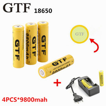 4 pcs/set 18650 battery 3.7V 9800mAh rechargeable li-ion battery with charger for Led flashlight batery litio battery Cell 18650