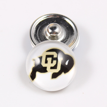 10PCS Colorado Buffaloes 18mm Glass Snap Button Fit Ginger Snap Bracelet Bangles NCAA Football Baseball Series Jewelry