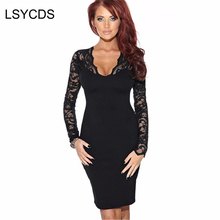 Buy Women's Clothing Sexy Dress 2018 Woman Full Sleeve V-Neck Solid Black White Sheath Women Night Club Party Lace Dresses for $18.19 in AliExpress store