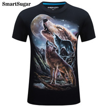 SMARTSUGAR Brand 2017 New Fashion 3D Print Moon Wolf Personality Creative TShirt Men Summer Short Sleeve Men's Fashion Tops Tees(China)