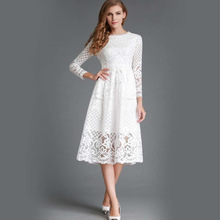 Summer Fashion New 2017 Hollow Out Elegant White Lace Elegant Party Dress High Quality Women Long Sleeve Casual Dresses DR010