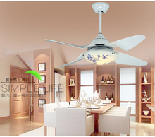 Ceiling fan light LED fan ceiling light living room restaurant modern Acrylic blade fan light ceiling with remote control 42inch(China)