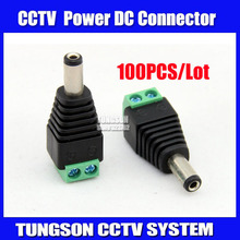 100pcs/lot 5.5/2.1mm DC Connector CCTV UTP Cable Power Plug Adapter Cable DC/AC 2/Camera Video Balun Connector Free shipping