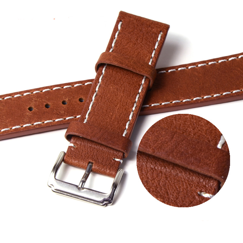 100% Genuine Leather Watch Strap 20mm 22mm Watch Band Brown Watchband Watch Band Strap Stainless Steel Buckel Clasp Belt<br><br>Aliexpress