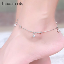 925 sterling silver anklets for women beach anklet with beads chinese market online beaded foot jewelry ankle chain bracelets(China)