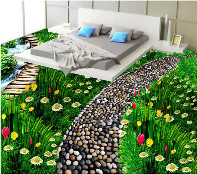 3 d flooring custom waterproof 3d pvc flooring Floral natural grass flooring 3d bathroom flooring photo wallpaper for walls 3d<br>