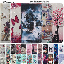 Pattern Case For iPhone X 10 8 5S SE 6S 7 Plus Flip Wallet PU Leather Phone Cover Card Slots Holder Stand For iPod Touch 5 6 B00(China)
