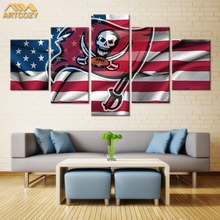 Artcozy 5 Panel Art Canvas Painting Spray Printings USA Flag Wall Pictures Home Decoration Paint Waterproof Pipe Packing
