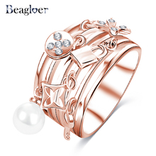 Beagloer 2017 New Arrival Delicate Ring Rose Gold Color Ring Unique Multilayer Hollow Design Fine Jewelry CRI0419-B