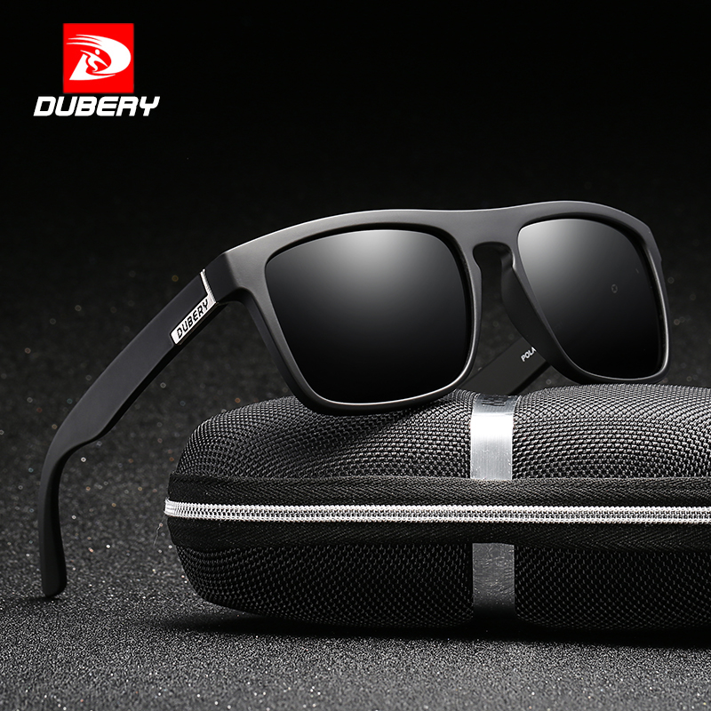 DUBERY Polarized Sunglasses Men Driving Fashion Brand Desinger Sun Glasses Men Women Square Mirror 2017 Zipper Box