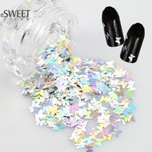 SWEET TREND 1 Bottle Laser Silver Butterfly Sequins Nail Art Glitter Powder 3d Charm Nail Tips Decoration Manicure Tools LAHD02