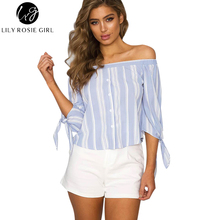 Off Shoulder Blue Striped Casual Women Blouses Long Sleeve Tassel Slash Neck Button Autumn Sexy Shirts Ladies Top Blusa Feminina