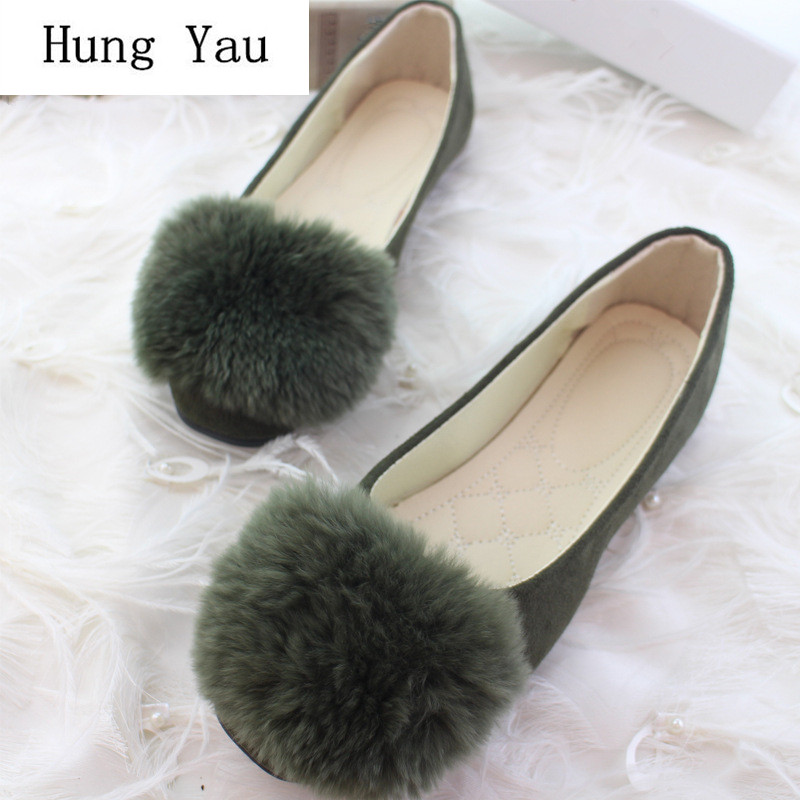 Loafers Fur Shoes Woman Women Flats Slip On Plus-Size Casual Fashion Winter Sweet Shallow