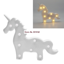 3D Marquee White Unicorn Lamp With 9 LED Battery Operated Night Light New 07NOV(China)