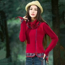 Autumn And Winter Thick Velvet Long Sleeve Red Knit Tops Women Casual Plus Size Sweater Elegant Vintage Clothes With Scarf