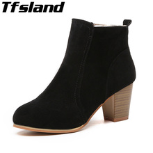 Buy Autumn Winter Women Short Cylinder Ankle Boots Female Scrub Leather Snow Boots High Heels Martin Boots Walking Shoes Sneakers for $16.17 in AliExpress store